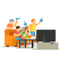 emotional sports fans watching game on tv vector image