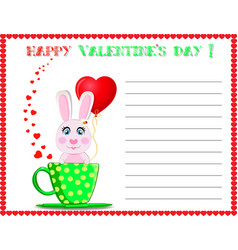 happy valentines day post card with cute cartoon vector image