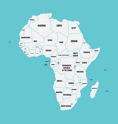 simple flat map of africa continent with national vector image vector image