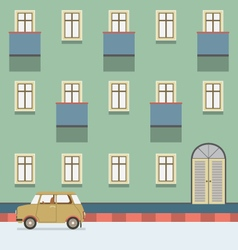 Vintage Building With A Car Parking At The Street vector image vector image