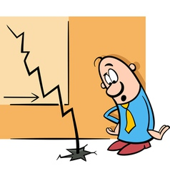 businessman and economic crisis cartoon vector image vector image