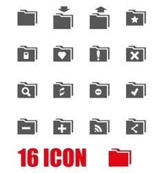 grey folder icon set vector image vector image