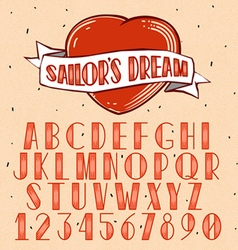 Old School Tattoo style font vector image