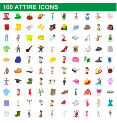 100 attire icons set cartoon style vector