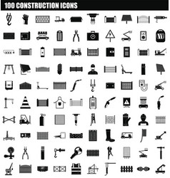 100 construction icon set simple style vector image