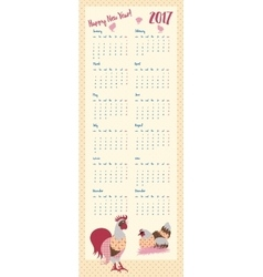 2017 calendar with rooster hens and chickens vector