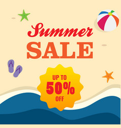 50 off summer sale poster promotion sand beach vector