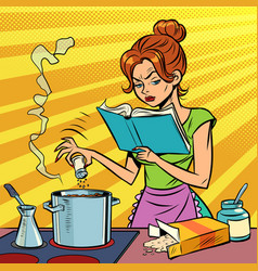 A woman prepares food with cookbook in her hands vector