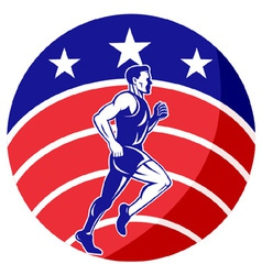 American marathon runner jogger vector