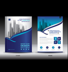 annual report brochure flyer template blue cover vector image