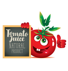 banner for fresh juice with funny tomato vector image vector image