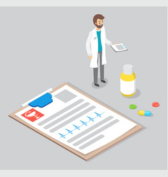 bearded doctor with a prescription clipboard with vector image