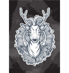 Beautiful hand-drawn tribal style deer over the vector