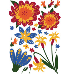 Beautiful wild or garden blooming flowers floral vector