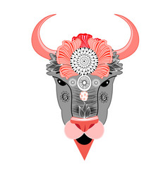 Bison with ornament vector