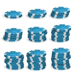 blue poker chips stacks 3d realistic vector image