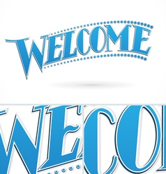 Blue Welcome Lettering Design vector image