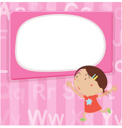 Border template with girl on pink background vector