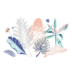 bouquet of tropical leaves and flowers on pastel vector image