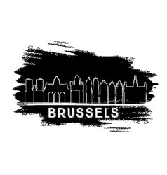 brussels skyline silhouette hand drawn sketch vector image