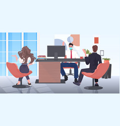 businesspeople in face masks keeping distance vector image
