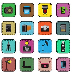 Camera and accessory icon sticker set vector