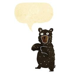Cartoon black bear with speech bubble vector