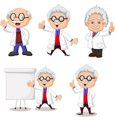 cartoon happy scientist collection set vector image