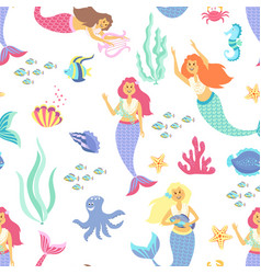 cartoon mermaid seamless pattern on transparent vector image