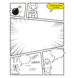 Children comic book template vector