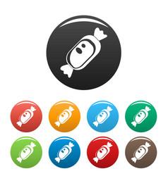 Chocolate bonbon icons set color vector