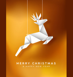 Christmas new year reindeer paper origami card vector
