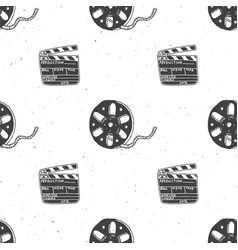 cinema tape film reel and clapperboard vintage vector image