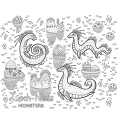 contour loch ness monsters and decorative hills in vector image