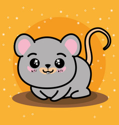 Cute and lovely mouse cartoon vector