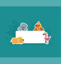 cute animals holding empty banner hhippopotamus vector image