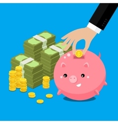 Cute fat piggy bank vector