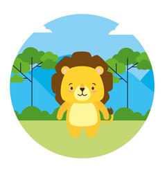cute lion animal landscape natural vector image