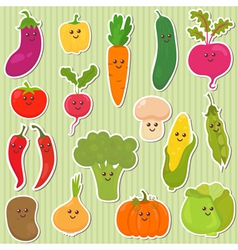Cute vegetables healthy food vector