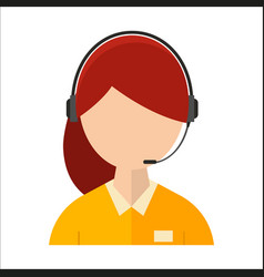 Dispatcher young smiling woman talking headphone vector