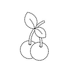 Dotted shape delicous and fresh cherry fruit with vector