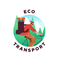 eco friendly transport concept man in bike vector image