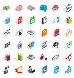Elearning icons set isometric style vector