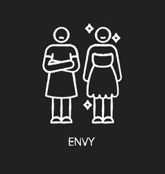 Envy chalk white icon on black background vector