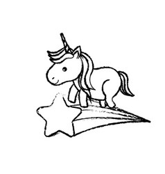 Figure nice unicorn with horn and shooting star vector
