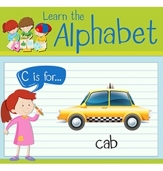 Flashcard letter C is for cab vector