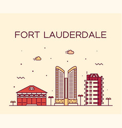 fort lauderdale skyline florida usa linear vector image