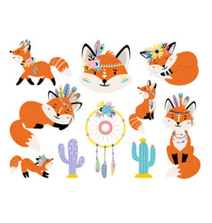 foxes and dreamcatcher vector image