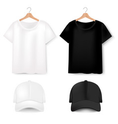 Front views of t-shirt and baseball cap on white vector