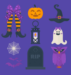 Funny halloween icons set including sweets vector